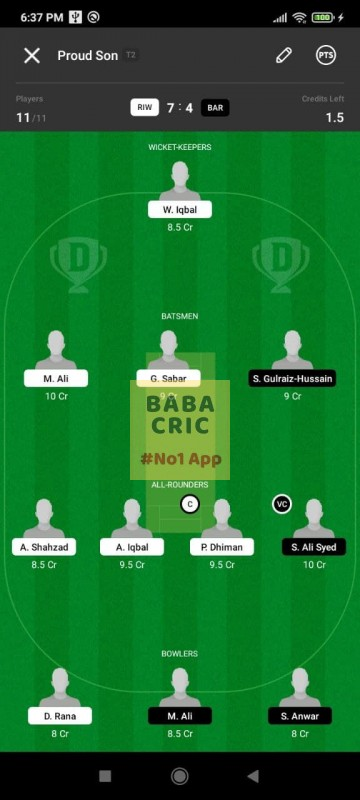 RIW vs BAR (ECS T10- Barcelona) Dream11 Grand League Team 1