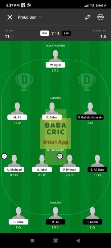 RIW vs BAR (ECS T10- Barcelona) Dream11 Grand League Team 2