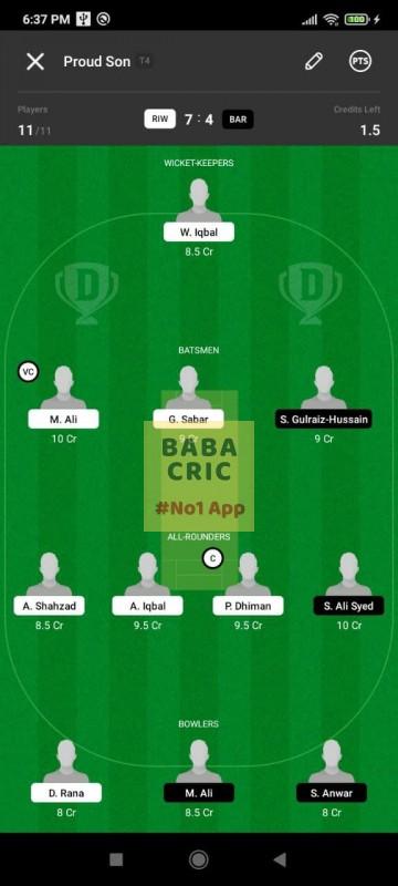 RIW vs BAR (ECS T10- Barcelona) Dream11 Grand League Team 3