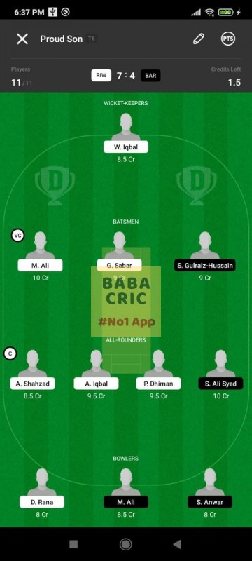 RIW vs BAR (ECS T10- Barcelona) Dream11 Grand League Team 5
