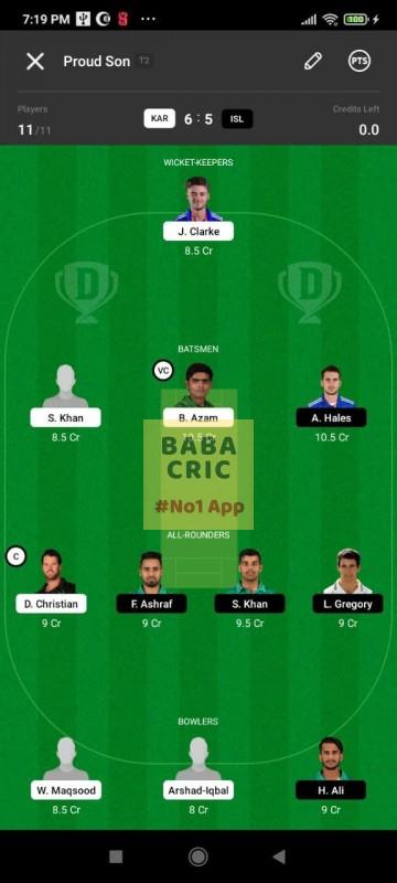 KAR vs ISL (Pakistan Super League T20- 2021) Dream11 Grand League Team 1