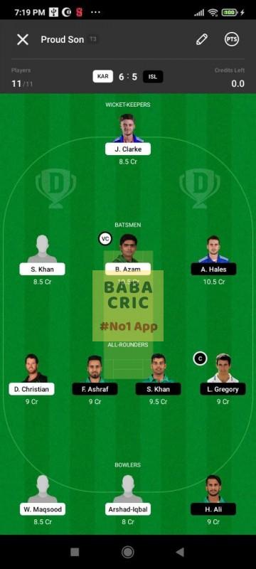 KAR vs ISL (Pakistan Super League T20- 2021) Dream11 Grand League Team 2