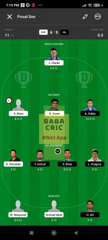 KAR vs ISL (Pakistan Super League T20- 2021) Dream11 Grand League Team 3