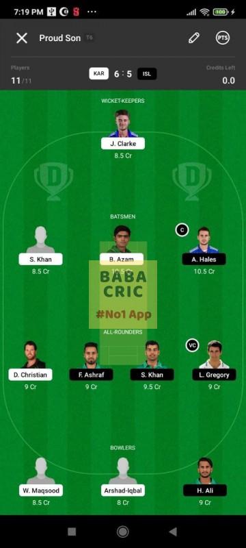 KAR vs ISL (Pakistan Super League T20- 2021) Dream11 Grand League Team 5