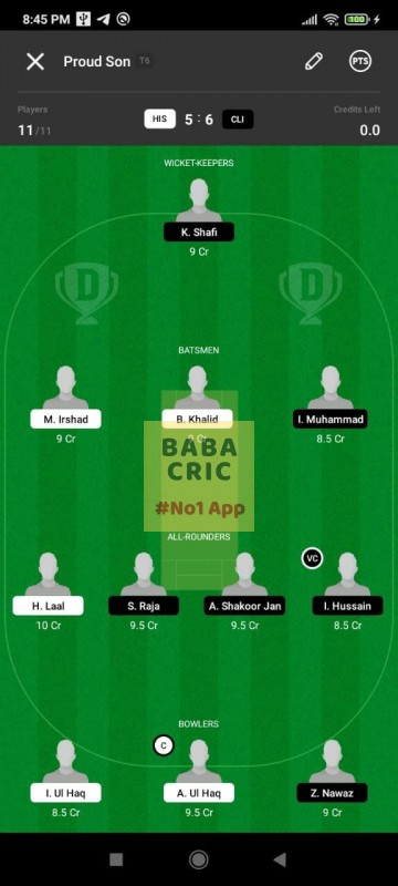 HIS vs CLI (ECS T10- Barcelona) Dream11 Grand League Team 1