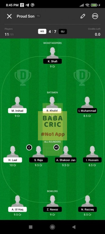 HIS vs CLI (ECS T10- Barcelona) Dream11 Grand League Team 2