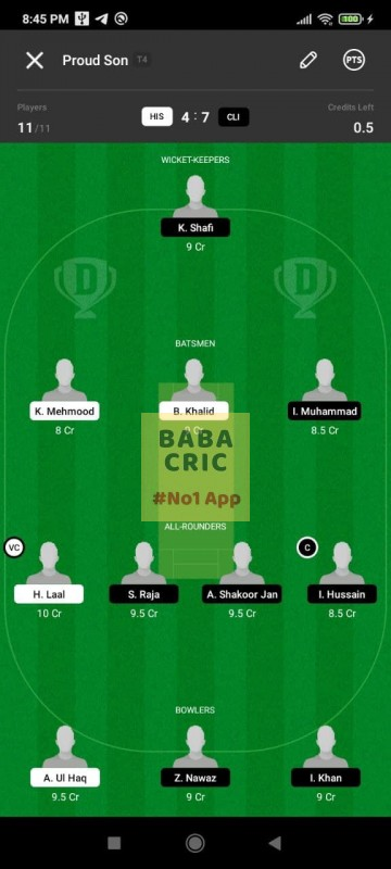 HIS vs CLI (ECS T10- Barcelona) Dream11 Grand League Team 3