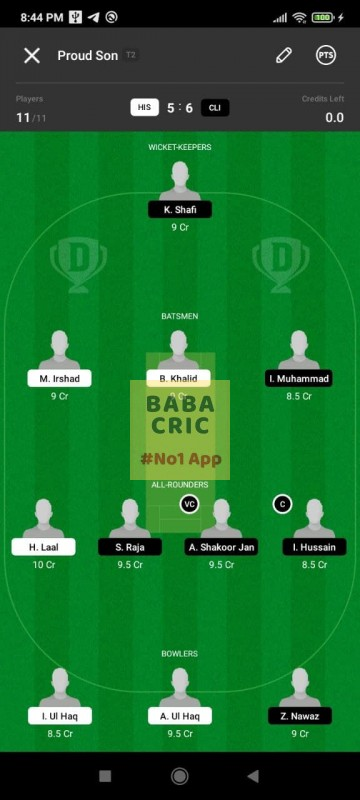 HIS vs CLI (ECS T10- Barcelona) Dream11 Grand League Team 4