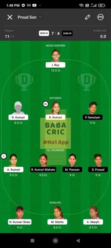 BOKW vs DUMW (Jharkhand Women T20- 2021) Dream11 Grand League Team 3