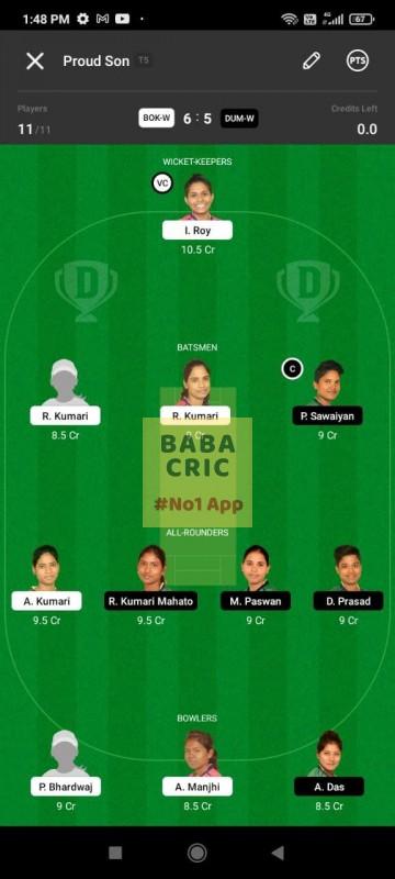 BOKW vs DUMW (Jharkhand Women T20- 2021) Dream11 Grand League Team 4