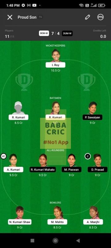 BOKW vs DUMW (Jharkhand Women T20- 2021) Dream11 Grand League Team 5