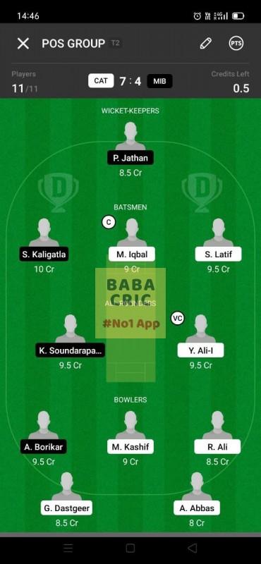 CAT vs MIB (ECS T10- Barcelona) Dream11 Grand League Team 1