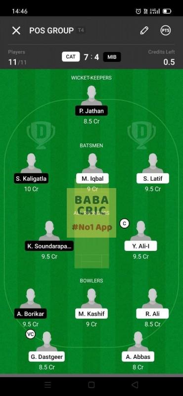 CAT vs MIB (ECS T10- Barcelona) Dream11 Grand League Team 3