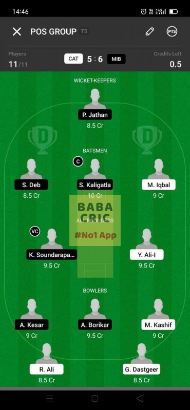 CAT vs MIB (ECS T10- Barcelona) Dream11 Grand League Team 4