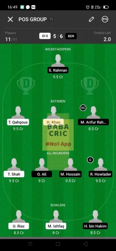 XIS vs BEN (ECS T10- Barcelona) Dream11 Grand League Team 1