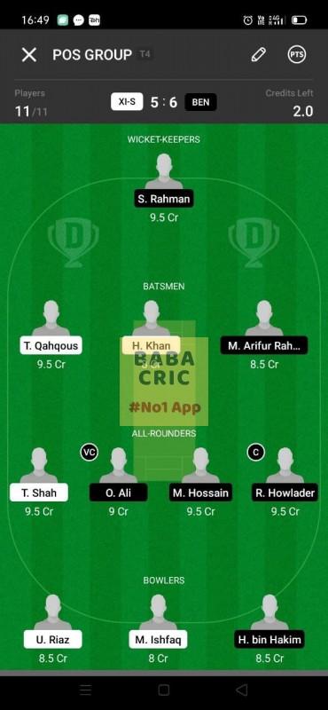 XIS vs BEN (ECS T10- Barcelona) Dream11 Grand League Team 3