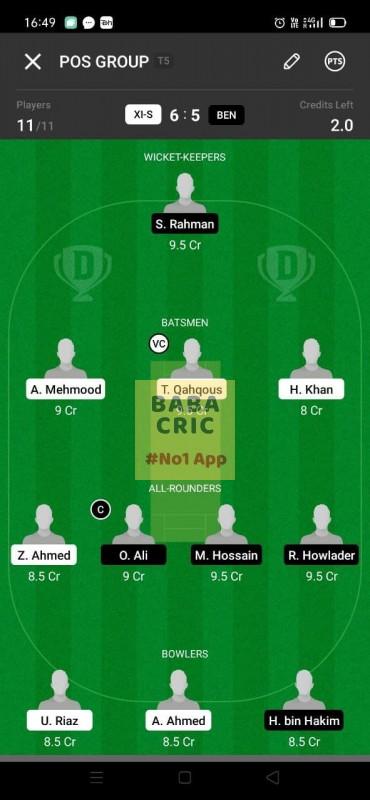 XIS vs BEN (ECS T10- Barcelona) Dream11 Grand League Team 4