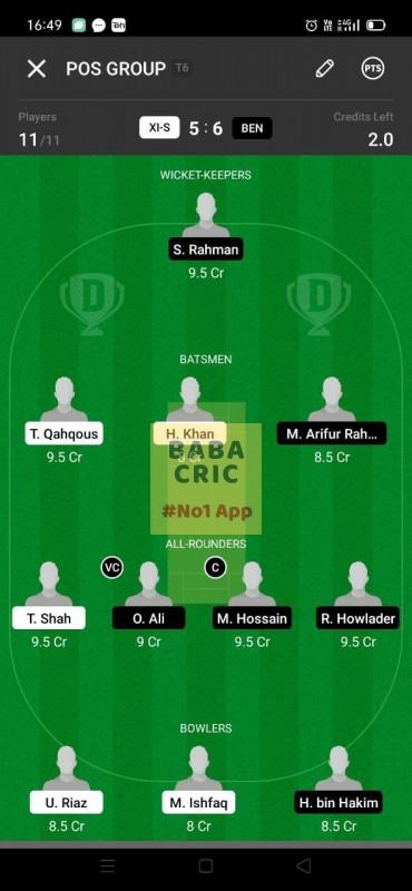 XIS vs BEN (ECS T10- Barcelona) Dream11 Grand League Team 5