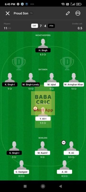 CAT vs FTH (ECS T10- Barcelona) Dream11 Grand League Team 1