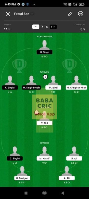 CAT vs FTH (ECS T10- Barcelona) Dream11 Grand League Team 3