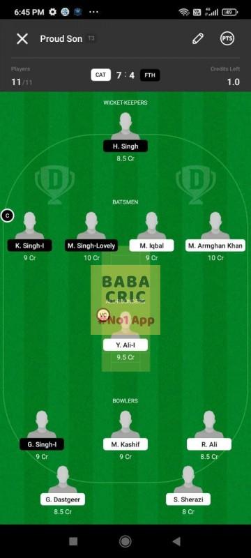 CAT vs FTH (ECS T10- Barcelona) Dream11 Grand League Team 4