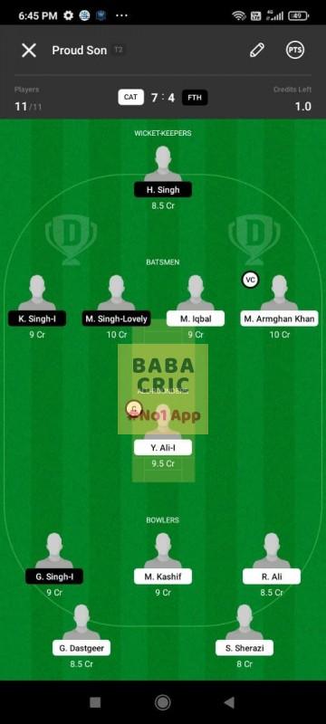 CAT vs FTH (ECS T10- Barcelona) Dream11 Grand League Team 5