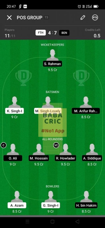 FTH vs BEN (ECS T10- Barcelona) Dream11 Grand League Team 2