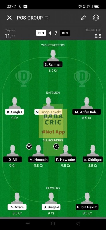 FTH vs BEN (ECS T10- Barcelona) Dream11 Grand League Team 3