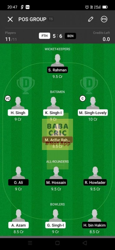 FTH vs BEN (ECS T10- Barcelona) Dream11 Grand League Team 5