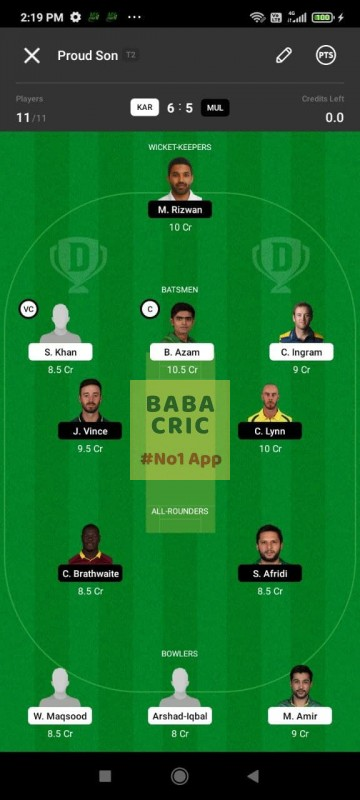 KAR vs MUL (Pakistan Super League T20- 2021) Dream11 Grand League Team 1