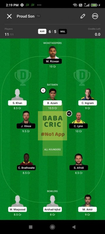 KAR vs MUL (Pakistan Super League T20- 2021) Dream11 Grand League Team 3