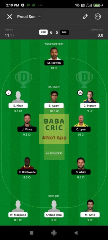 KAR vs MUL (Pakistan Super League T20- 2021) Dream11 Grand League Team 5