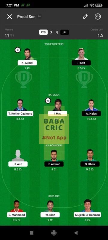 PES vs ISL (Pakistan Super League T20- 2021) Dream11 Grand League Team 1