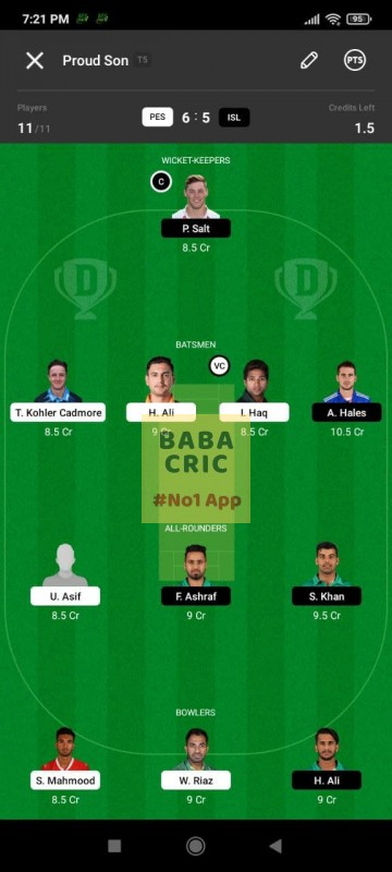 PES vs ISL (Pakistan Super League T20- 2021) Dream11 Grand League Team 3