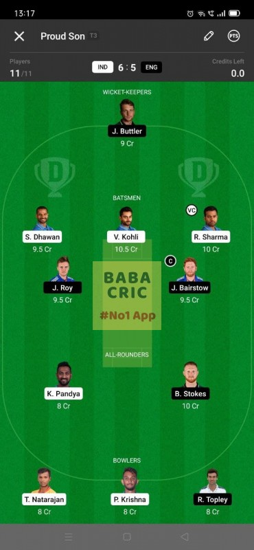 IND vs ENG - 3rd ODI Dream11 Grand League Team 2