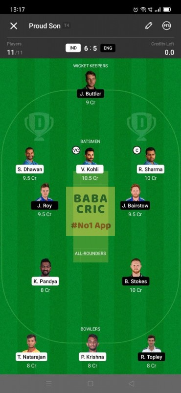 IND vs ENG - 3rd ODI Dream11 Grand League Team 3