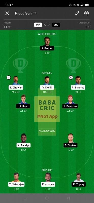 IND vs ENG - 3rd ODI Dream11 Grand League Team 4