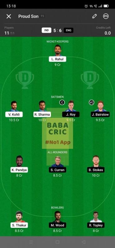 IND vs ENG - 3rd ODI Dream11 Grand League Team 5