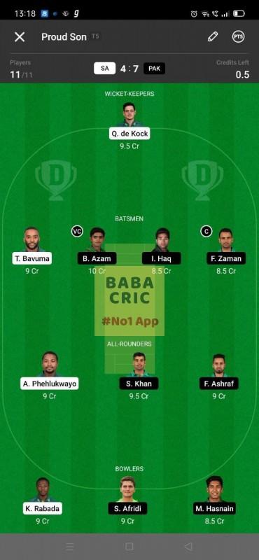 SA vs PAK 1st ODI Dream11 Grand League Team 1