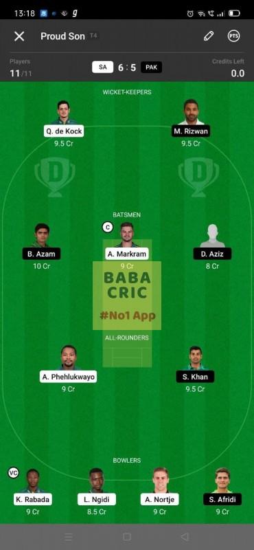 SA vs PAK 1st ODI Dream11 Grand League Team 2
