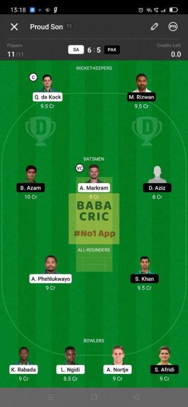 SA vs PAK 1st ODI Dream11 Grand League Team 3