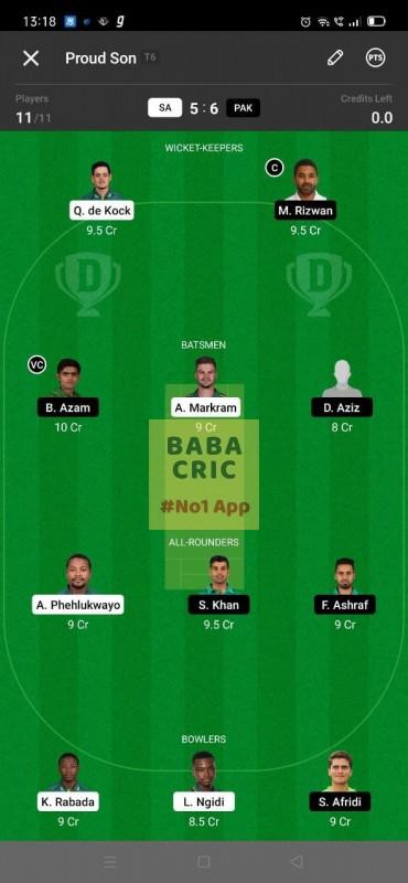 SA vs PAK 1st ODI Dream11 Grand League Team 5
