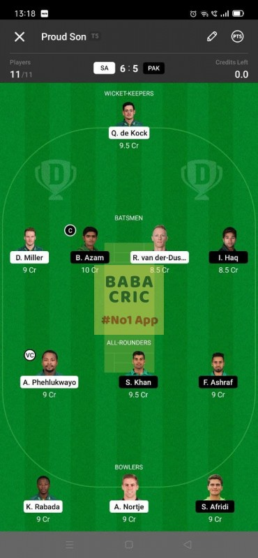 SA vs PAK - 2nd ODI Dream11 Grand League Team 1