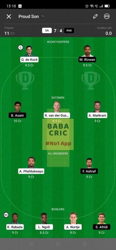 SA vs PAK - 2nd ODI Dream11 Grand League Team 2