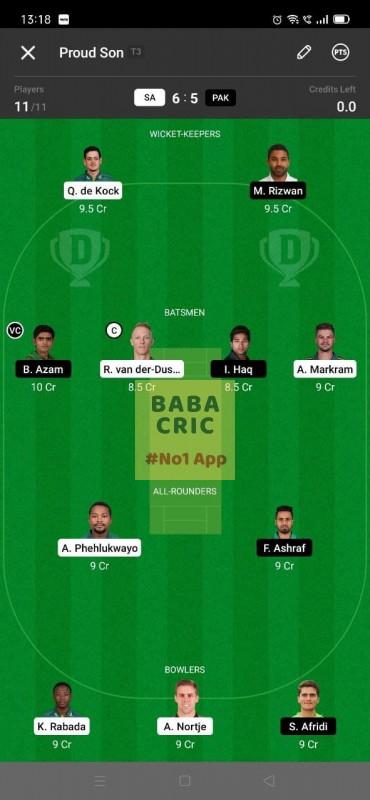 SA vs PAK - 2nd ODI Dream11 Grand League Team 3
