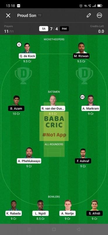 SA vs PAK - 2nd ODI Dream11 Grand League Team 4