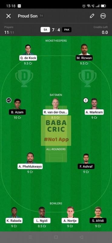 SA vs PAK - 2nd ODI Dream11 Grand League Team 5