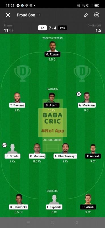 SA vs PAK - 3rd ODI Dream11 Grand League Team 2