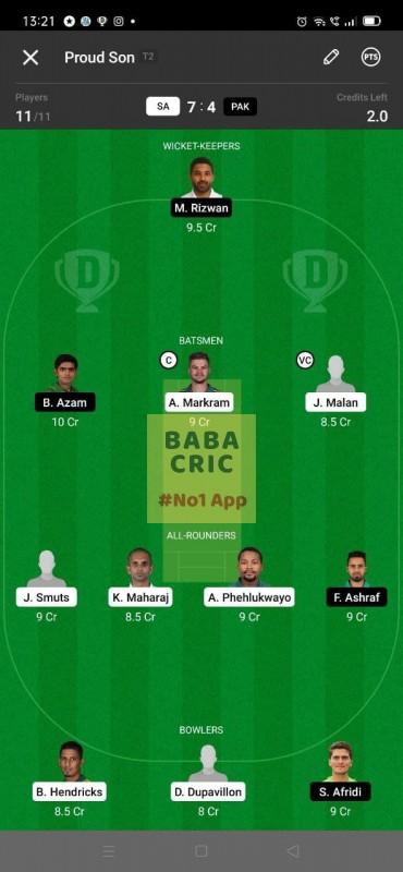 SA vs PAK - 3rd ODI Dream11 Grand League Team 3