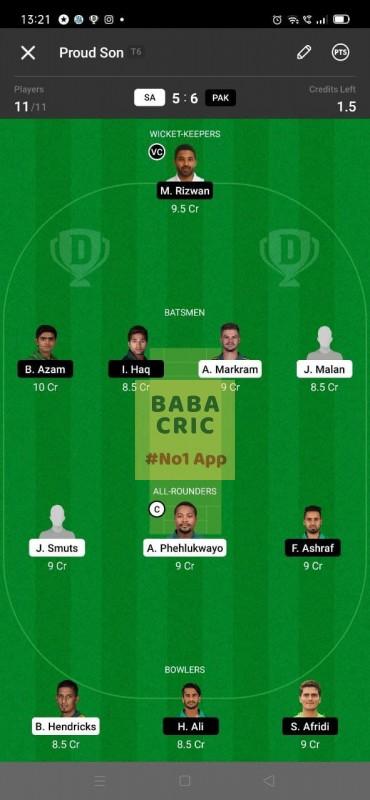 SA vs PAK - 3rd ODI Dream11 Grand League Team 1